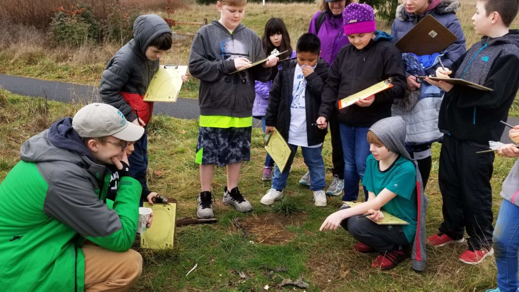 Students participating in an ecology scavenger hunt, observing a pile of bones
